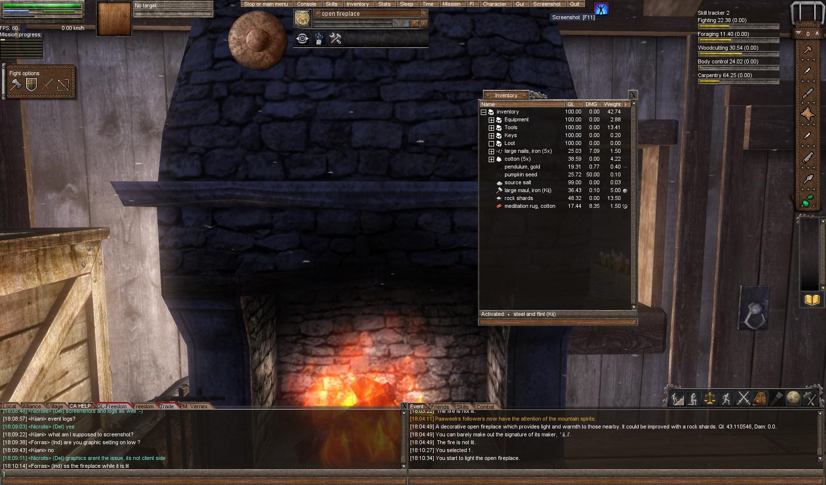 Bug] Open fireplace won't stay lit - Server Bugs - Wurm Online Forum