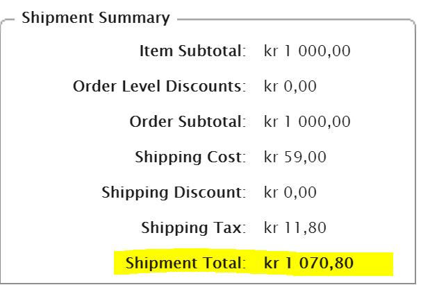 Shipment summary